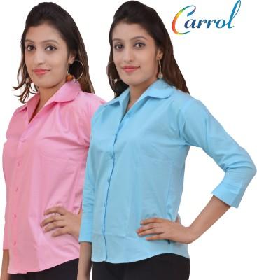 carrol Women's Solid Formal Pink, Blue Shirt