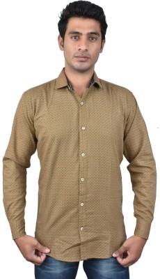 Royal Crown Men's Polka Print Casual Beige Shirt