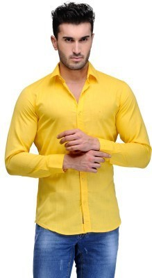 Alian Men's Solid Casual Yellow Shirt