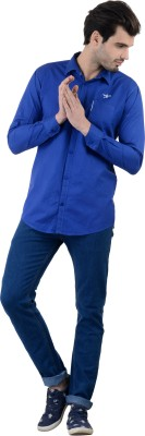 Piccolo Clothings Men's Solid Casual Blue Shirt
