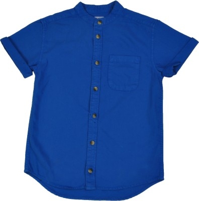 NOQNOQ Boy's Solid Casual Blue Shirt