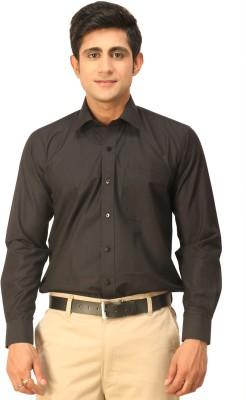 Seven Days Men's Solid Formal Black Shirt