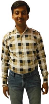 Vkg Men's Checkered Casual Black Shirt