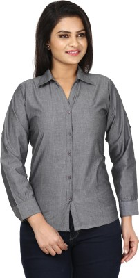 Sunday Casual Women's Solid Formal Grey Shirt