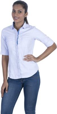 Elle Et Lui Women's Checkered Formal Light Blue Shirt