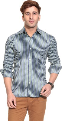 Stylistry Men's Checkered Casual Blue, Green Shirt