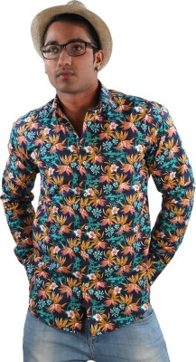 Just Differ Men's Floral Print Casual Blue Shirt