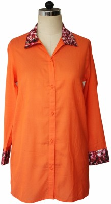 Bring Home Stories Women's Solid Casual Orange Shirt