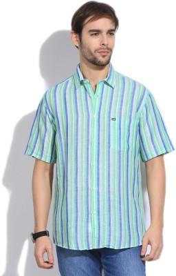 Arrow Sports Men's Striped Casual White, Blue, Green Shirt