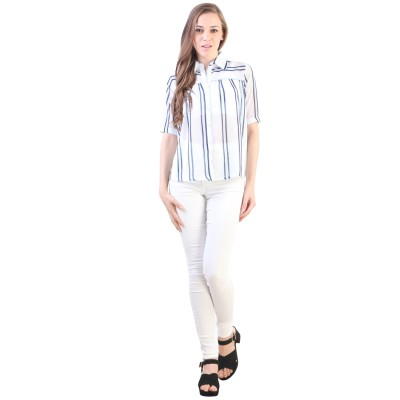 VVINE Women's Solid Party White Shirt