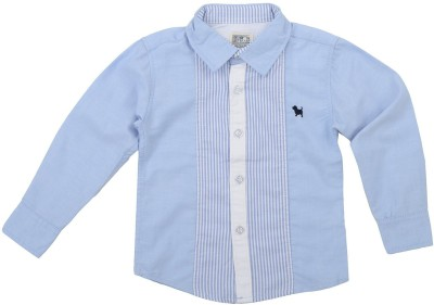 Piperz Boys Solid Casual Blue Shirt