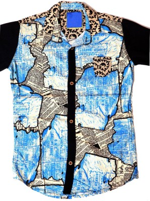 Kidicious Boy's Printed Casual Blue, White, Black Shirt