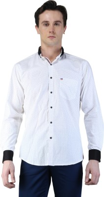 Magnoguy Men's Polka Print Casual White Shirt