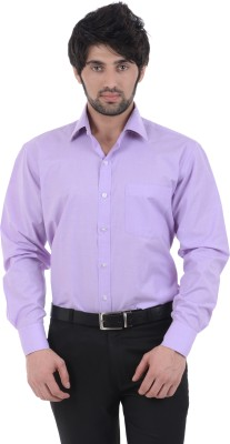 Burdy Men's Solid Formal Purple Shirt