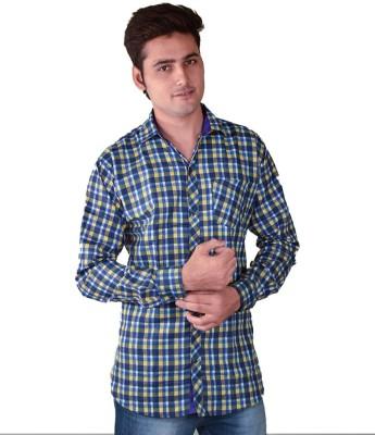 FUEGO Men's Striped Casual Yellow, Blue Shirt