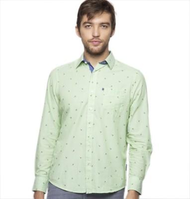 American Swan Men's Printed Casual Green Shirt