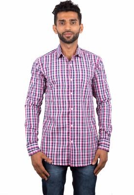 maclavaro Men's Checkered Casual Pink Shirt