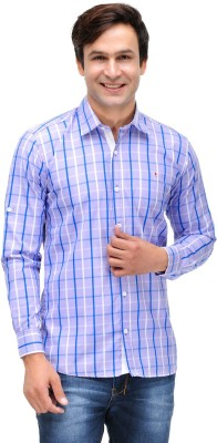 Nexq Men's Checkered Casual Purple, Blue Shirt