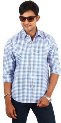 Barrier Reef Men's Checkered Casual White, Dark Blue, Light Blue Shirt