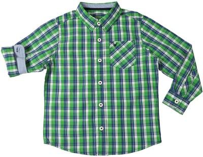 Allen Solly Boy's Checkered Casual Green Shirt