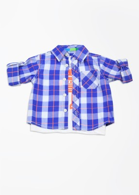 Mothercare Baby Boy's Checkered Casual White, Blue Shirt