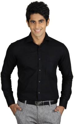 Coffee Bean Men,s Solid Formal Black Shirt