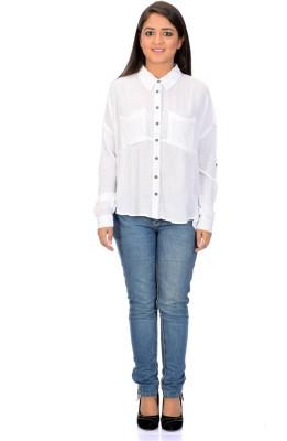 Instinct Women's Solid Casual, Festive White Shirt