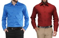 Fomti Formal Shirts (Men's) - FOMTI Men's Solid Formal Multicolor Shirt(Pack of 2)