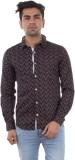 Evanzo Men's Printed Casual Brown Shirt