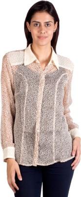 Ebry Women's Printed Casual Beige Shirt