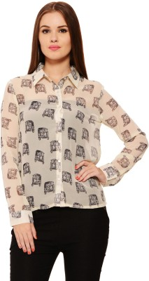 Feneto Women's Printed Casual White Shirt