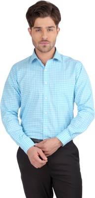 J Hampstead Men's Checkered Formal Blue Shirt