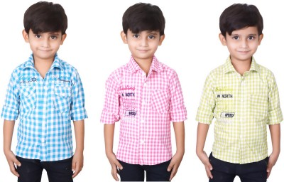 Ice Blue Boy's Checkered Casual Blue, Pink, Green Shirt