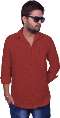 Nation Polo Club Men's Solid Casual Maroon Shirt