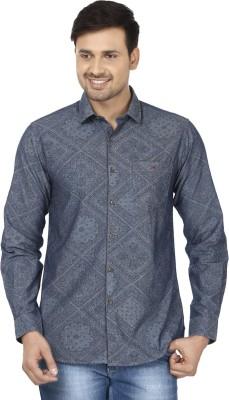 Wills Lifestyle Men's Printed Casual Grey Shirt