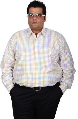 Xmex Men's Checkered Formal Yellow Shirt