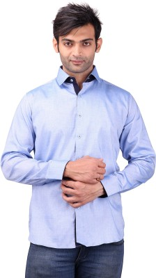 Clubstone Men's Solid Casual Blue Shirt