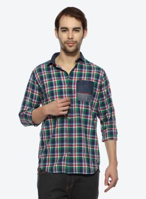 Derby Jeans Community Men's Checkered Casual Green, Dark Blue Shirt
