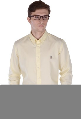 FRANK JEFFERSON Men's Solid Casual Yellow Shirt