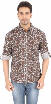 Spykar Men's Printed Casual Brown Shirt
