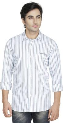 Kingswood Men's Striped Casual Green Shirt