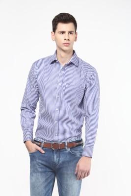 Remo Men's Striped Casual White, Blue Shirt