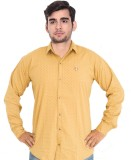 7 Buttons Men's Printed Casual Brown Shi...