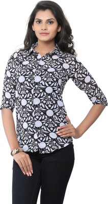 Liba Women's Printed Casual Black, White Shirt