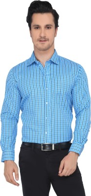 Devaa Men's Checkered Casual Blue Shirt