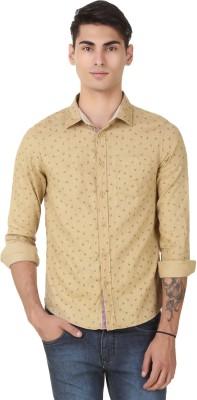 4 Stripes Men's Printed Casual Beige Shirt