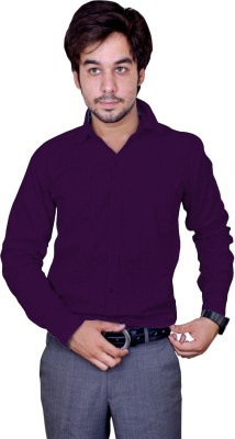 United Polo Hills Men's Solid Casual Linen Purple Shirt