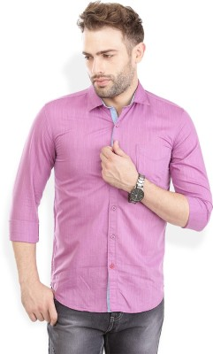 PAN VALLEY Men's Solid Casual Purple Shirt