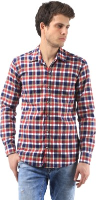 Orizzonti Men's Checkered Casual Red Shirt