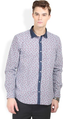 Orange Valley Men's Printed Casual White, Red Shirt